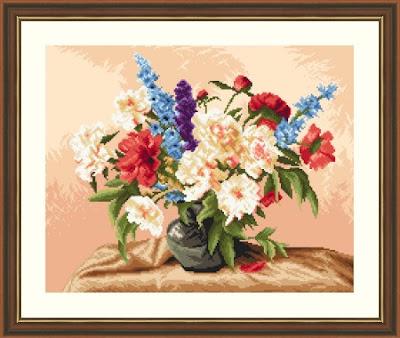 haft krzyżykowy kwiaty