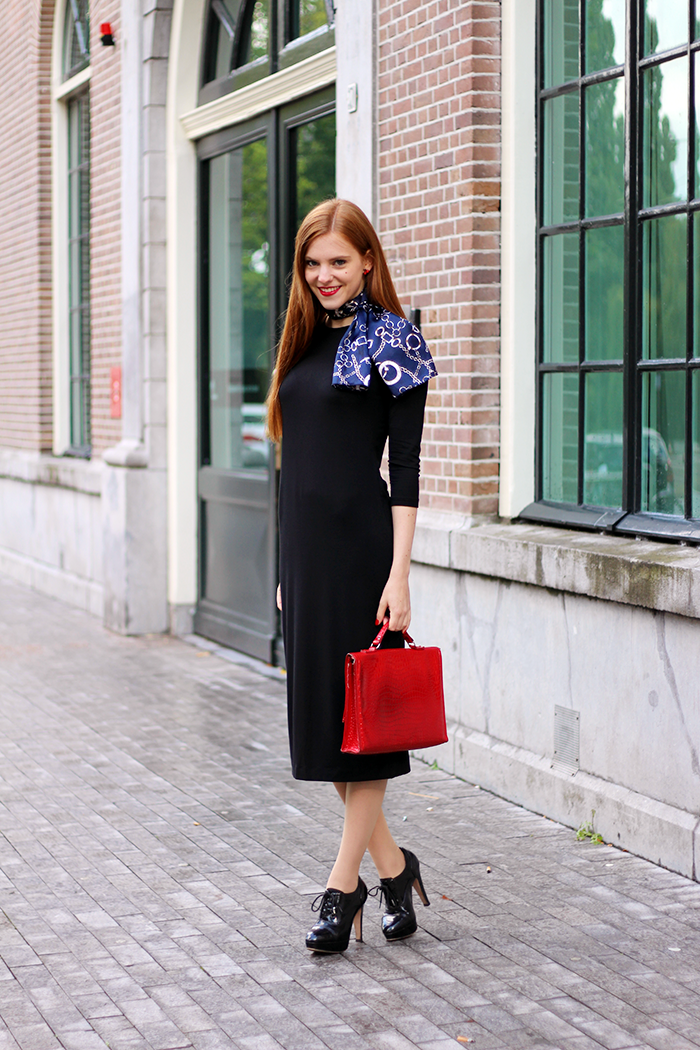 Vintage Fashion Blogger Outfit with a Black Midi Dress and silk scarf