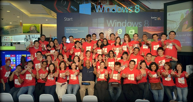 One happy Microsoft family at the Windows 8 Launch event