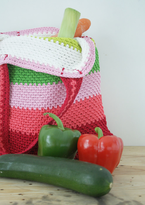 Crochet market bag, free pattern | Happy in Red