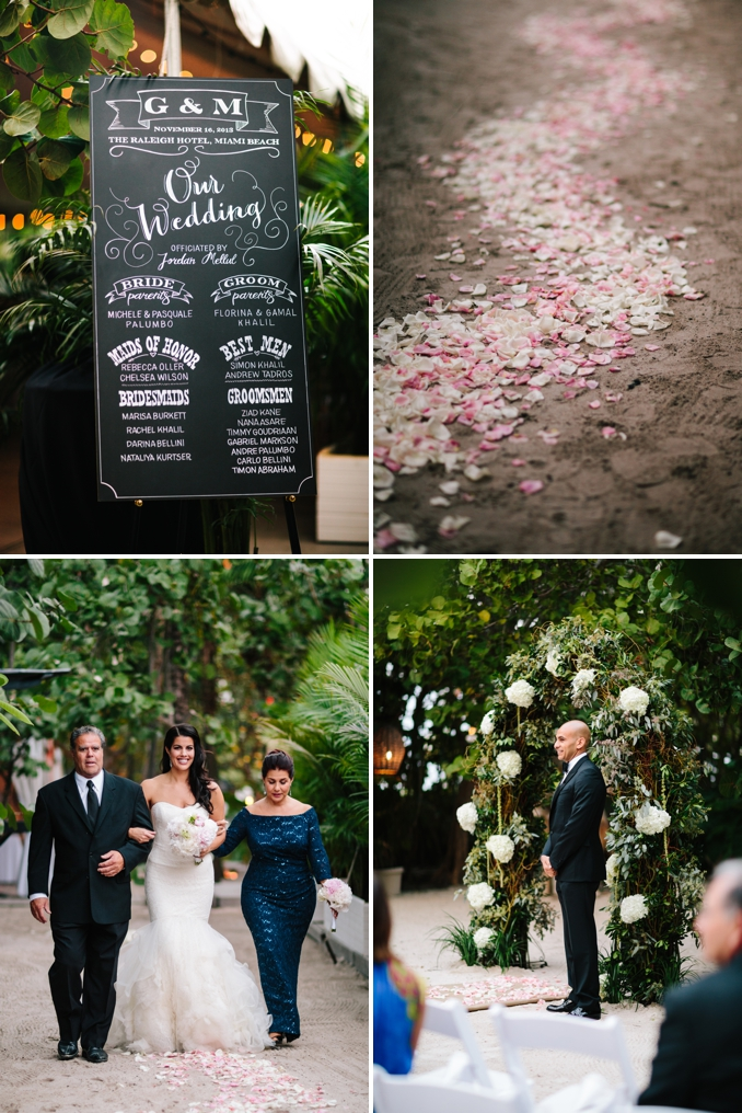 beautiful handwritten chalkboard sign and flower petal aisle runner