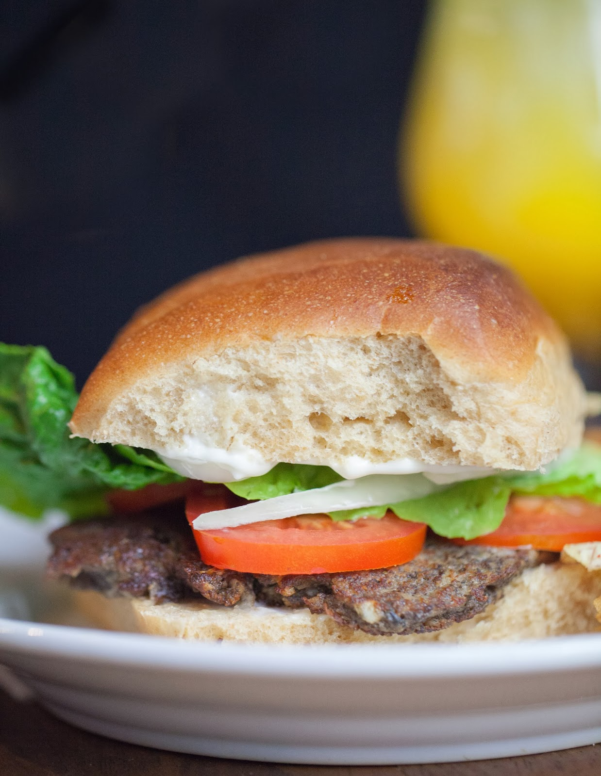 Single-serving mushroom burger recipe