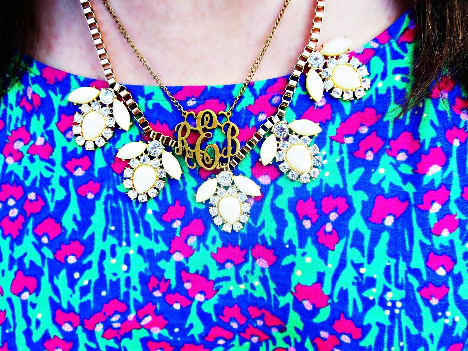 Yellow Statement Necklace: Old Navy, Monogram Necklace: Mypersonalized  Etsy Shop, Blue Bee Bracelet: Target, Charm Bracelet: Pandora,