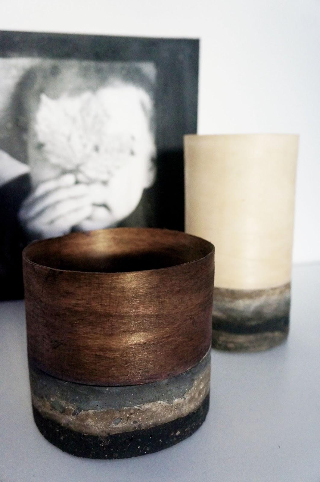 basteln malen Kuchen backen: Beton-Holzvasen
