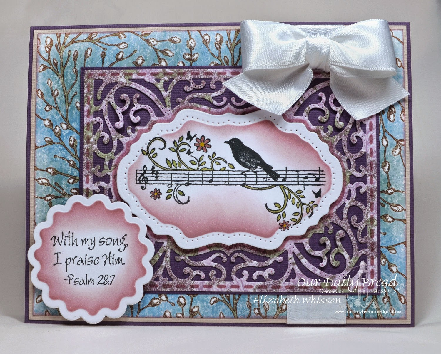 Our Daily Bread Designs, Music Speaks, ODBD Vintage Flourish Pattern Dies, ODBD Recipe Card and Tags Dies, ODBD Blooming Garden Paper Collection, Designed by Elizabeth Whisson, handmade card, Distress Markers, Distress Ink