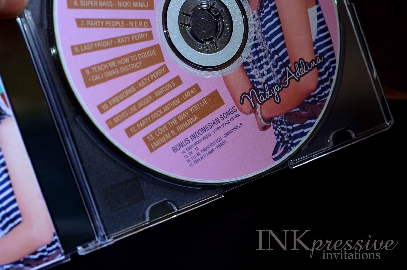 Sugar and Spice Music CD Invitation INKPRESSIVE INVITATIONS