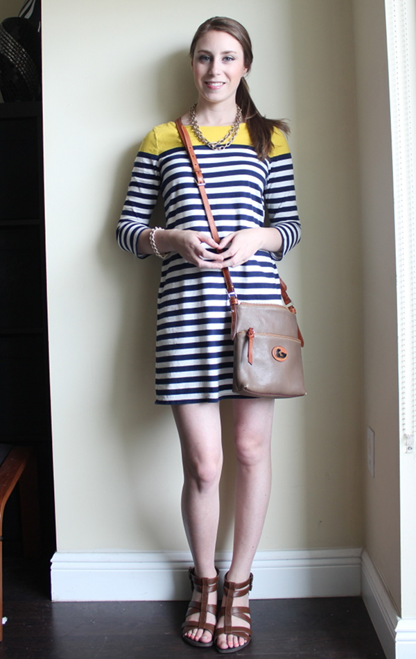 miami fashion blogger, lawyer style fashion blog, old navy stripe dress, dooney & bourke crossbody,