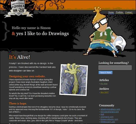 SR28 - Website design using drawings and illustration