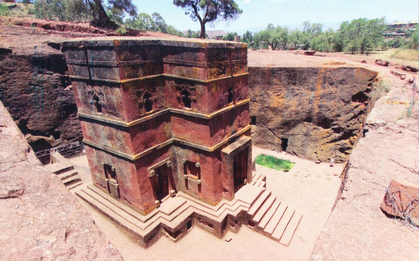 postcard, ethiopia, biete giyorgis, lalibela