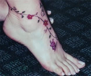 Unique Tattoo On Feet Girl