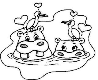 Risco para pintura de Hipopótamo