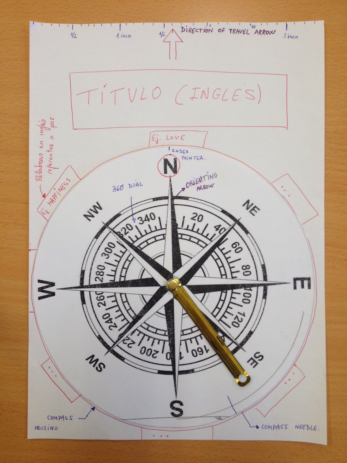 TASK 3: DRAW A COMPASS ~ PE Tamixa