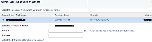 Money transfer from SBI to SBI