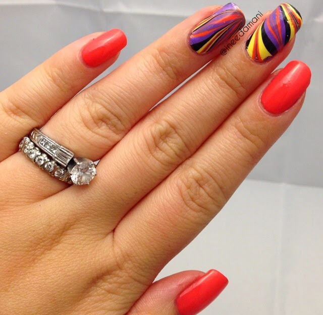 orange purple black yellow water marble nails