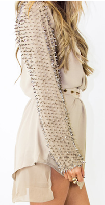 BEADED LONG SLEEVE TUNIC - Olive