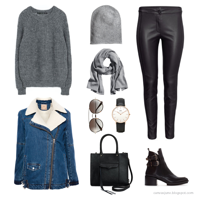 new year, gift shopping, wish list, fashion blogger, new year outfit, hm gray hat, hm gray sweater, hm gray scarf, hm leather pants, zara high heel black boots, prada sunglasses, Daniel Wellington watch, Rebecca Minkoff tote mini