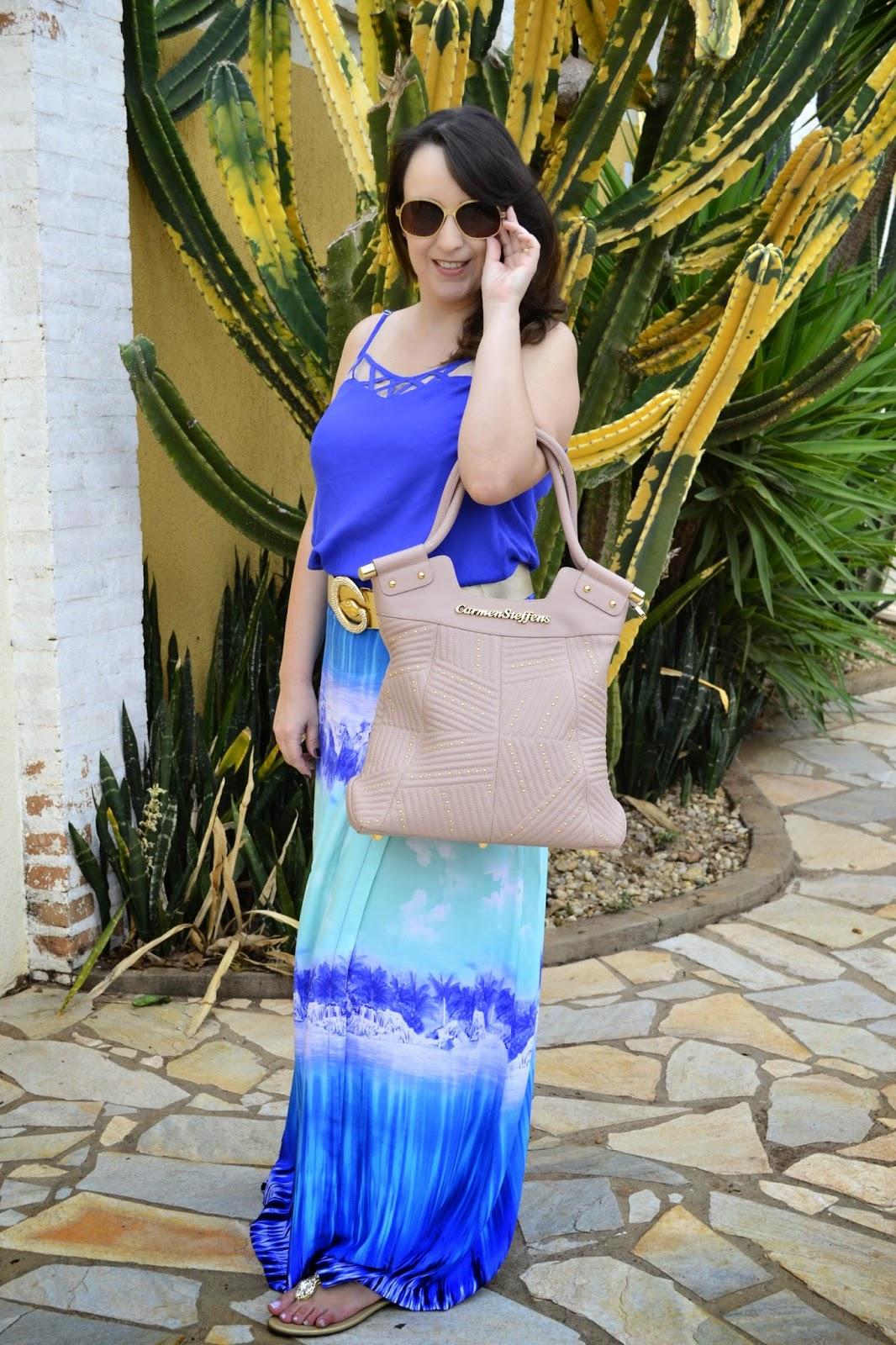 verão 2015, look do dia, saia longa estampada, look para praia, óculos armação dourada, bolsa carmen steffens, carmen steffens, blog de moda de ribeirão preto, blog camila andrade
