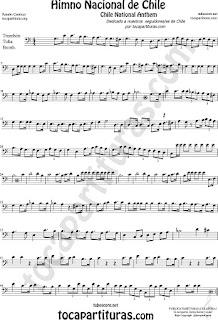 Himno Nacional de Chile Partitura de Trombón, Tuba Elicón y Bombardino Sheet Music for Trombone, Tube, Euphonium Music Scores
