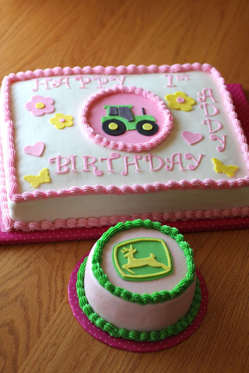 The Ganos Happy 1st Birthday John Deere Girl Sheet Cake and Smash
