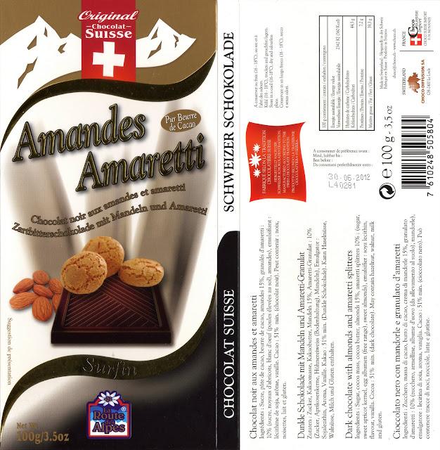 tablette de chocolat noir gourmand orset la route des alpes noir amandes amaretti
