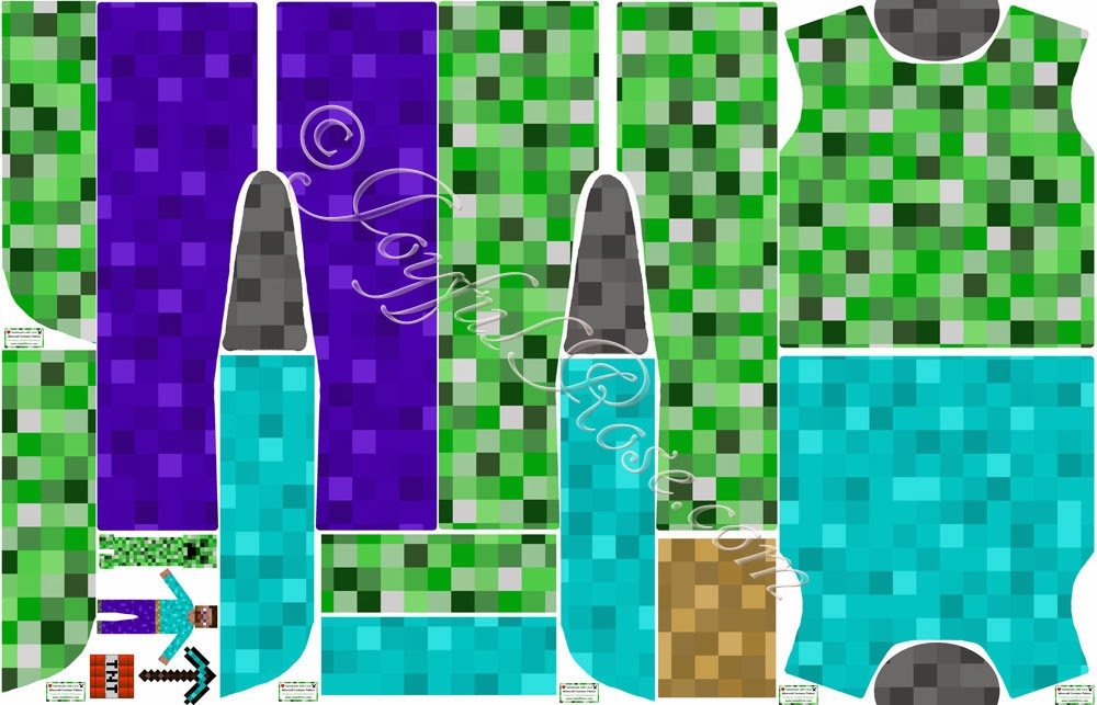 Joyfulrose blog halloween costume fabric contest on spoonflower - Minecraft creeper and steve ...