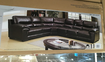 Marks & Cohen Colton Leather Sectional with top-grain leather on seating surface
