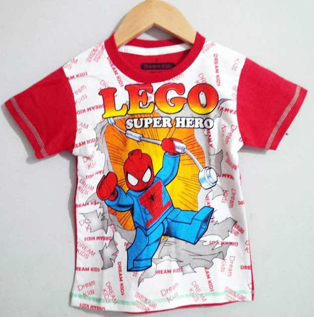 Baju Anak Karakter Spiderman Lego Dream Kids Size 1 - 6 Tahun