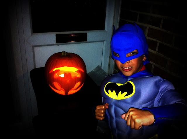 Batman and a ghostly bat pumpkin on Halloween, 2013