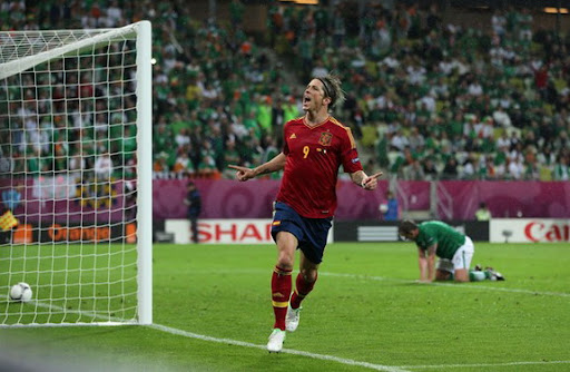 Spain striker Fernando Torres celebrates after scoring his second goal against Republic of Ireland