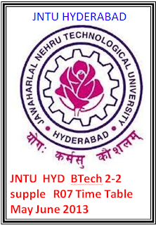 Jntu Hyd Btech 2-2 Supple R07 Time Table May June 2013