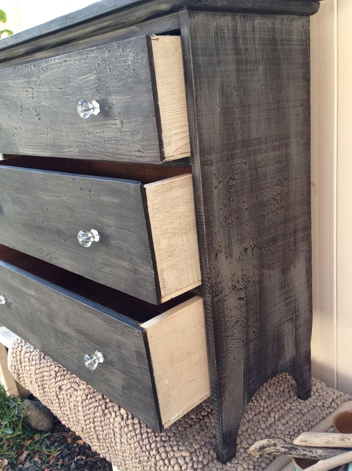refurbished antique dresser black with crystal knobs