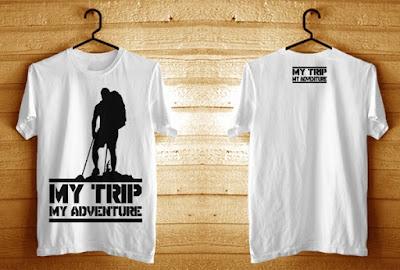 Kaos My Trip My Adventure Putih Sablon hitam