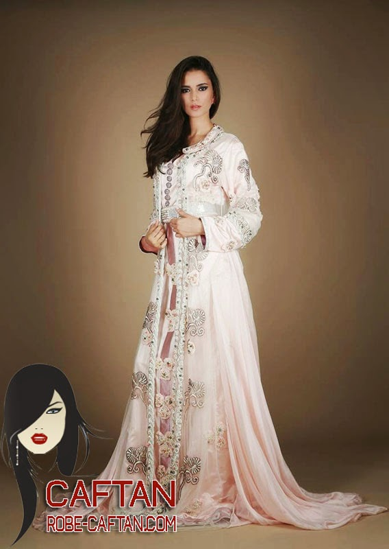 Caftan adorable rose blanc 2015