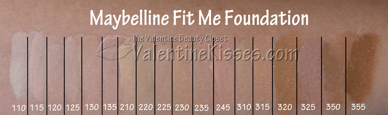 Valentine Kisses Maybelline Fit Me Foundation Swatches
