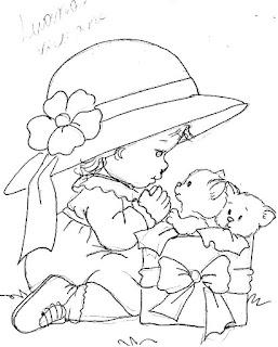 desenho de menina com cahorrinhos da ruth morehead