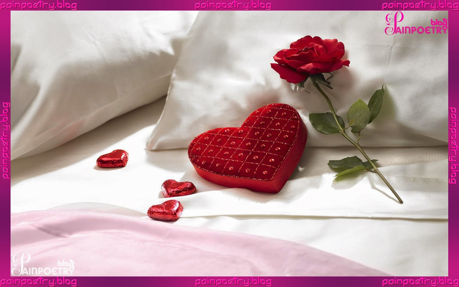 Love-Wallpaper-4-Hearts-And-One-Flower-Put-On-Bed-Image-HD