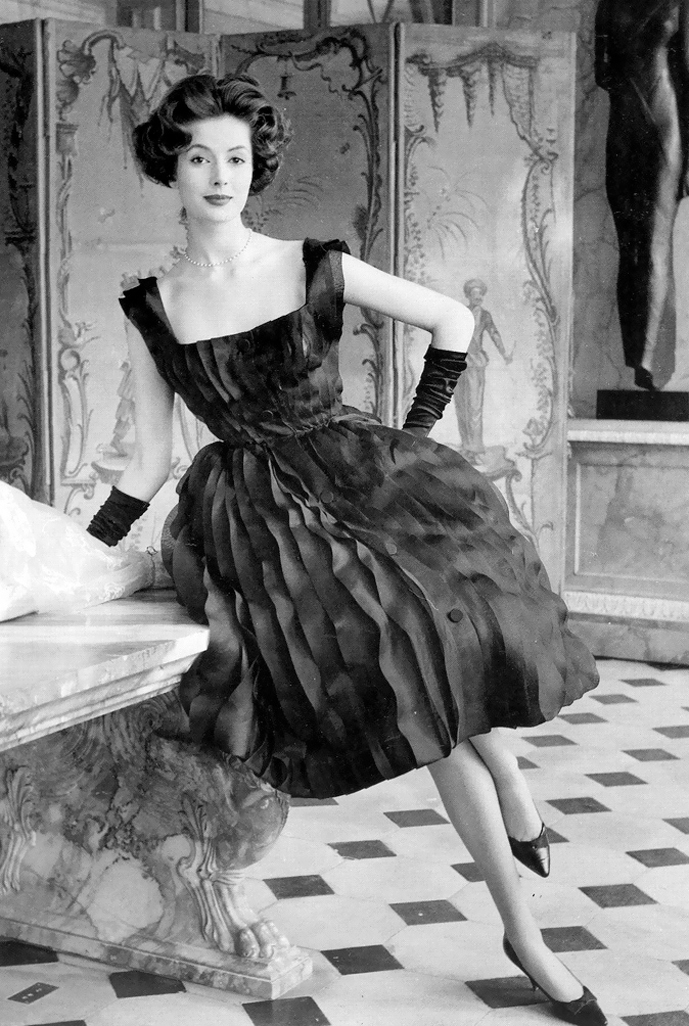 "Gitta Schilling wearing Balmain dress from ""Perle Oceane"" Spring 1959 photographed by Regina Relang"