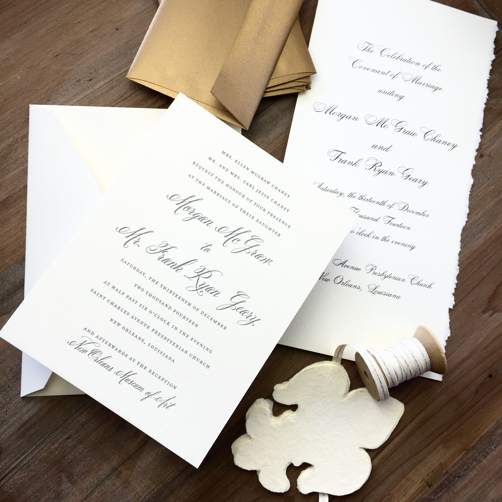morgan chaney and ryan geary new orleans wedding invitations and wedding program - New Orleans Wedding Invitations