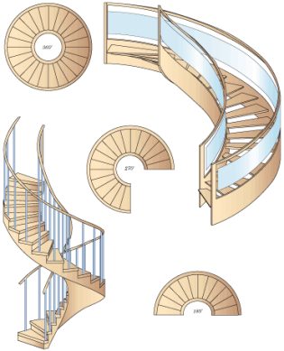 spiral and curved stairs