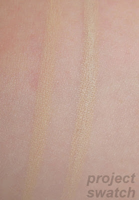 Comparison swatches: Glamoflauge light/pale pencil , MAC NC15 / NW20 pencil