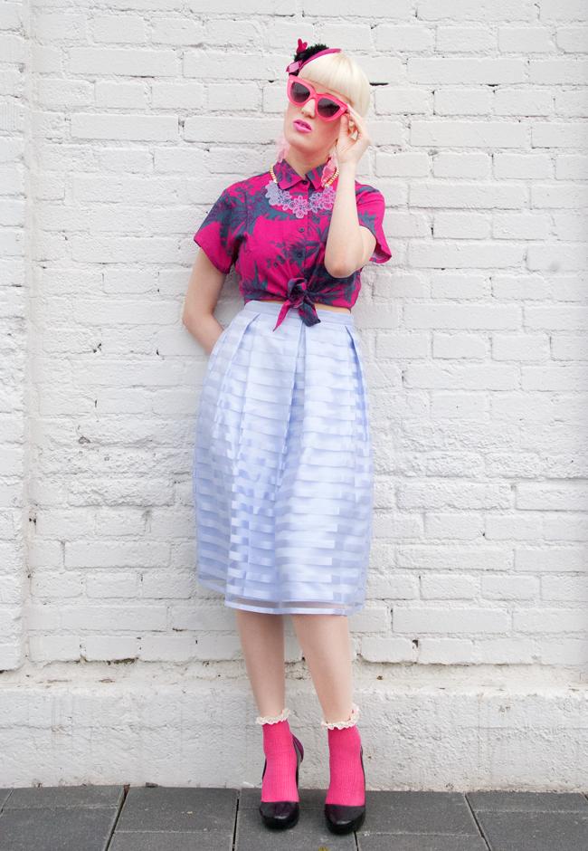 motel crop blouse, quay kitti, dorothy perkins lilac skirt, kanokkorn lamlert