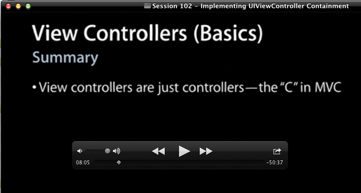 "WWDC Slide: View controllers are just controllers - the ""C"" in MVC."