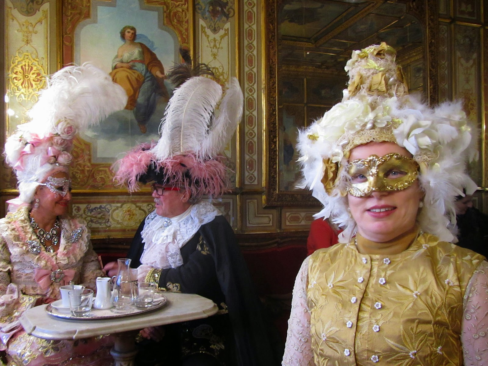 me and a costumed couple in caffè Florian