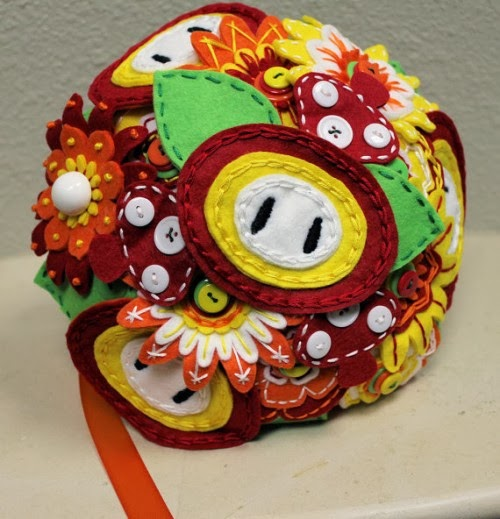 Super Mario Bros. felt fire flower wedding bouquet