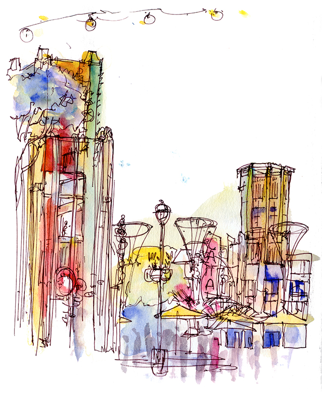 "Shiho Nakaza sketch ""Downtown Disney"" Anaheim watercolor pen"