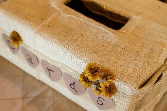 DIY card box with burlap