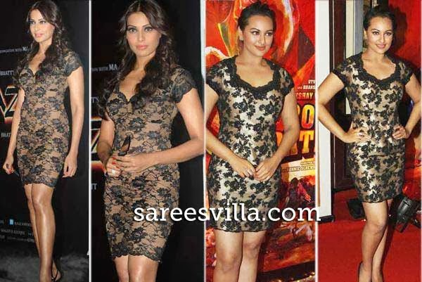 Bipasha Basu and Sonkashi Sinha in similar dress