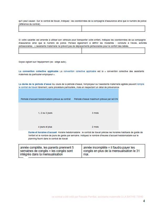 nounou pascale  mon contrat de travail d u0026 39 assistante