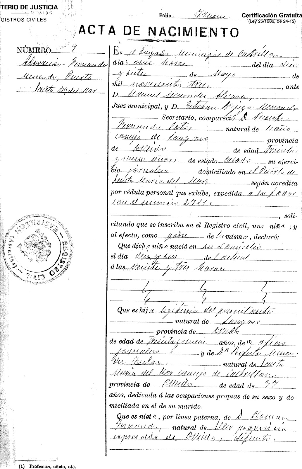 Dear mom and dad birth certificate not too long ago a family friend obtained my grandmothers birth certificate for me from the civil registry in spain my abuela always celebrated on may 2nd aiddatafo Choice Image