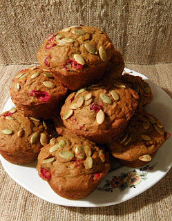 Plate Piled High with Pumpkin Cranberry Muffins
